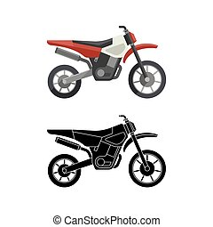 Motorcycles flat icons. - Motorcycles flat icon and line...