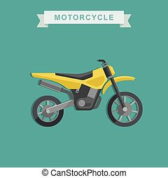 Vector motoctoss bike - Vector yellow motoctoss bike in flat...