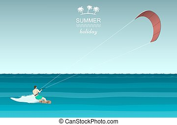 Kitesurfing retro illustration. Man riding wakeboard with...