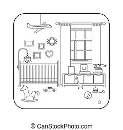 Line interior of baby room - Baby room interior Vector line...