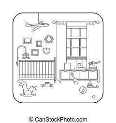 Line interior of baby room. - Baby room interior. Vector...