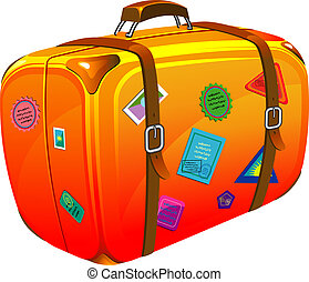 Travel suitcase with stickers Vector illustration Over white...