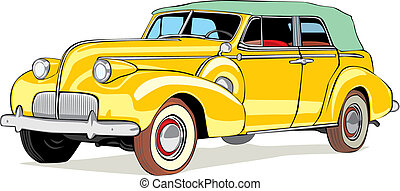 isolated old colored car - fully editable vector isolated...
