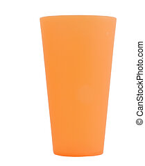 large orange reusable plastic cup