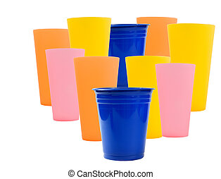 colorful reusable plastic cups