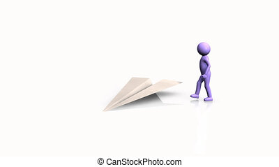 3D man flying on a paper plane against a white background