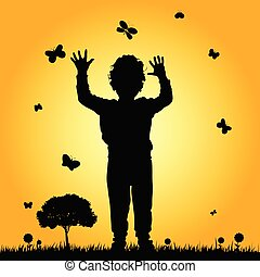 boy in nature silhouette illustration