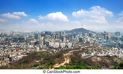 View of downtown cityscape and Seoul tower in Seoul, South...