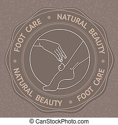 Foot, hand and text Foot Care Natural Beauty. - SPA theme...