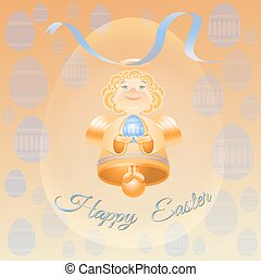 Golden bell angel with blue Ester eggs.