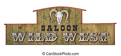Wild west wooden saloon signboard with sheep skull