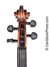 Top view of violin pegbox and pegs Isolated on white