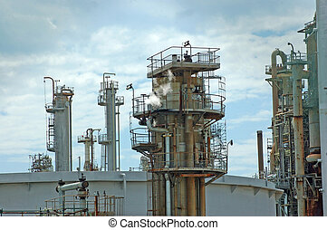 oil refinery - refractory towers at oil refinery