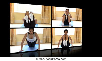 Stock animation of a woman doing fitness exercises at home