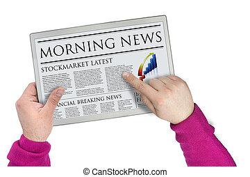 Futuristic screen holding a newspaper graphic