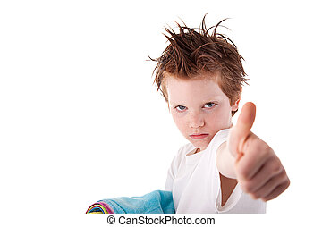 Cute boy, with sign of  cool, isolated on white background