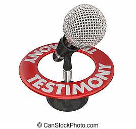 Testimony Microphone Word 3D Court Witness Speak Talk...
