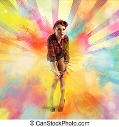 Pin-up colourful burst - Pin-up with burst bright colored...