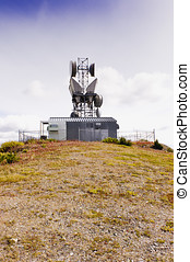 Mountaintop microwave tower - A microwave transmission tower...