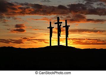 Cruces, espacio, encima, tres, brillante, ocaso, copia
