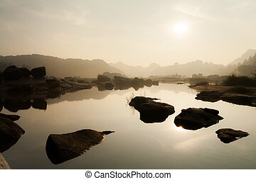 River landscape in hampi india - Morning river landscape in...