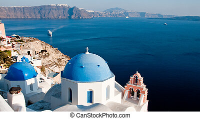 Greek Church - Greek church in santorini greece with a cross