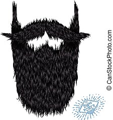 Hairy curly hipster strong beard drawing with label