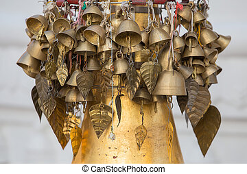 Bells in Shwedagon Pagoda . Yangon, Myanmar. - Bells on a...