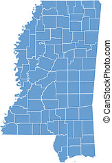 Vector map Mississippi