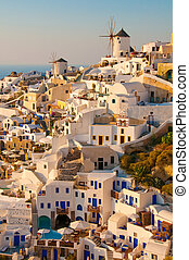 Santorini Island in greek greece village on cliff