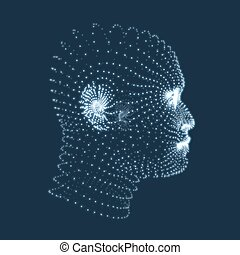 Head of the Person from a 3d Grid. Human Head Model. Face...
