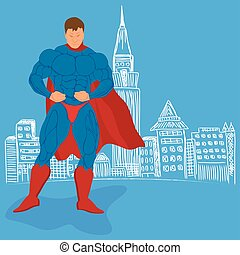 superhero and sketch city, vector illustration