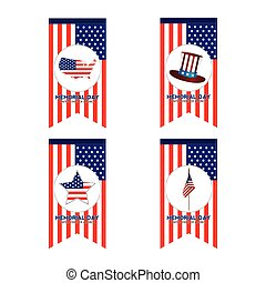 Memorial day - Set of banners with the american flag and...