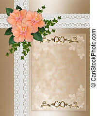 Wedding invitation hibiscus lace - Image and illustration...