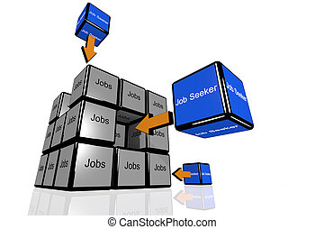 Job Seeker and Jobs symbolized with flying cubes - Jobs and...