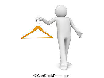 Man with clothes hanger - 3d characters isolated on white...