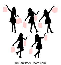 Silhouettes of shopping women