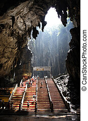 Batu Caves - Ancient Batu Caves in Malaysia having a hindu...