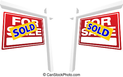 Pair of Red For Sale Real Estate Signs with Sold in...