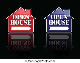 Red and Blue Open House Signs or Buttons.