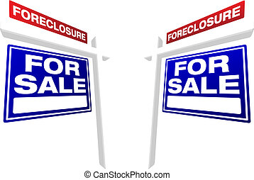 Pair of Foreclosure For Sale Real Estate Signs - Pair of...