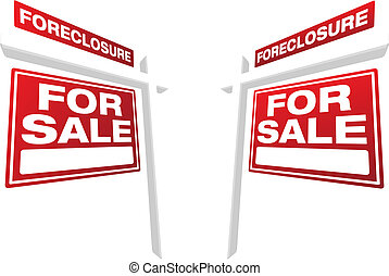 Pair of Foreclosure For Sale Real Estate Signs In...