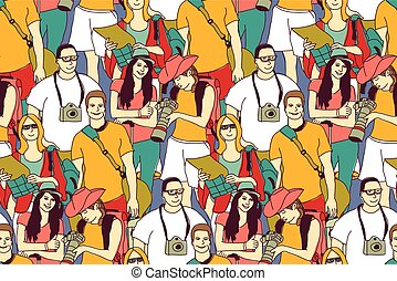 Tourists crowd people color seamless pattern.
