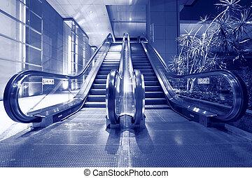 escalator in blue tone