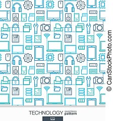 Technology wallpaper. Digital seamless pattern. Tiling...