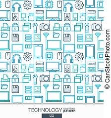 Technology wallpaper. Digital seamless pattern. Tiling...