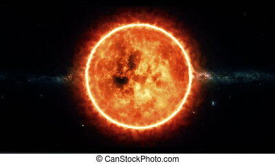 Sun surface with solar flares. Abstract scientific...