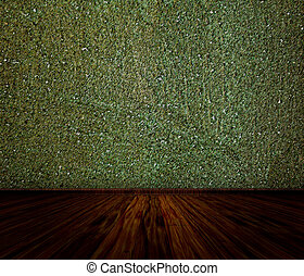 Green Wall Interior - Illustration of empty room with green...