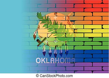 Rainbow Wall Oklahoma - A well worn wall painted with a LGBT...