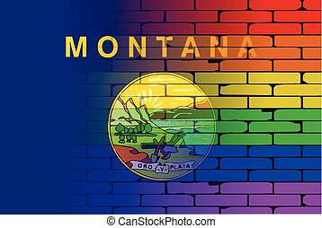 Rainbow Wall Montana - A well worn wall painted with a LGBT...